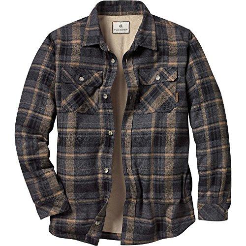 Legendary Whitetails Mens Fleece Lined Button Down Java Shirt Jac (Treeline Gray Plaid, X-Large)