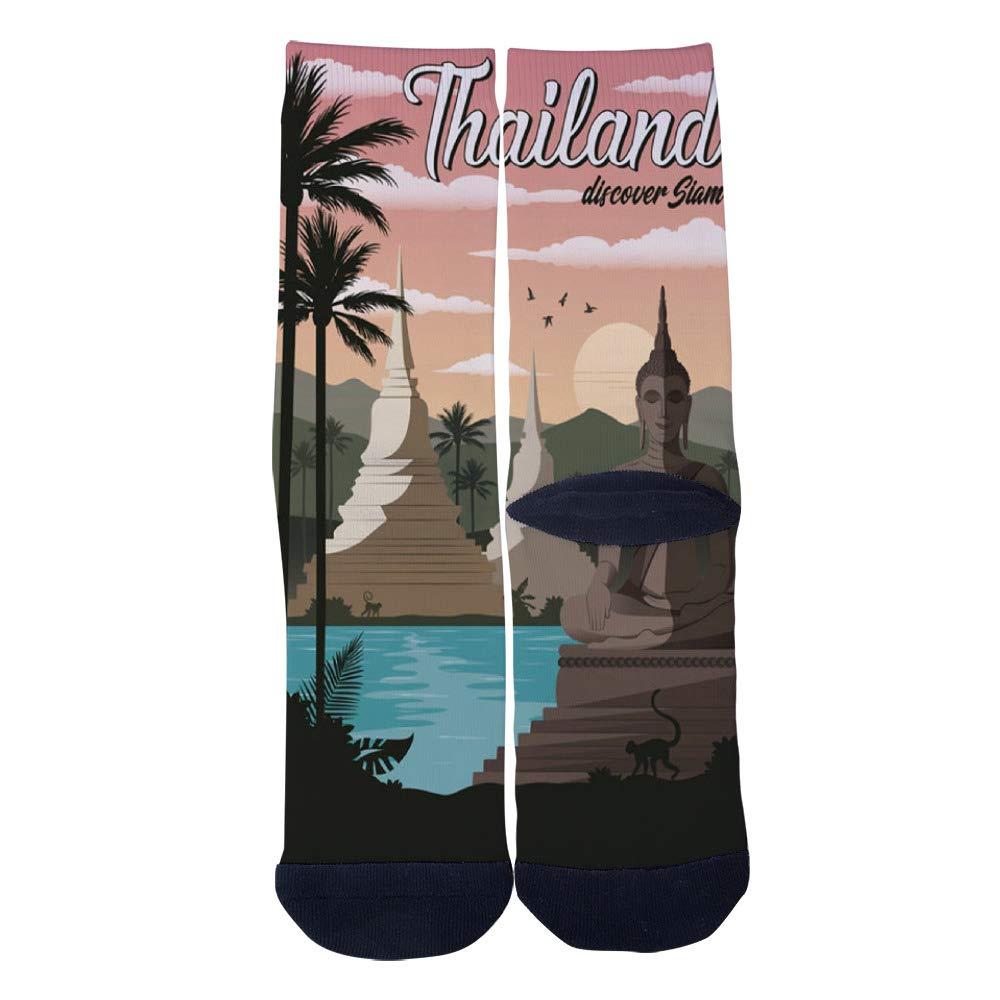 Mens Womens Casual Thailand Vintage Travel Poster Art Socks Crazy Custom Socks Creative Personality Crew Socks