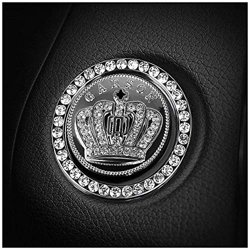 Car Engine Start Decoration Ring,Car Accessories Rhinestone Crystal Crown Emblem Sticker,Emblem Auto Interior Decal Bling Diamond for Auto Ignition Button Key & Knobs(Rhinestone Ring&Crown Emblem Stic