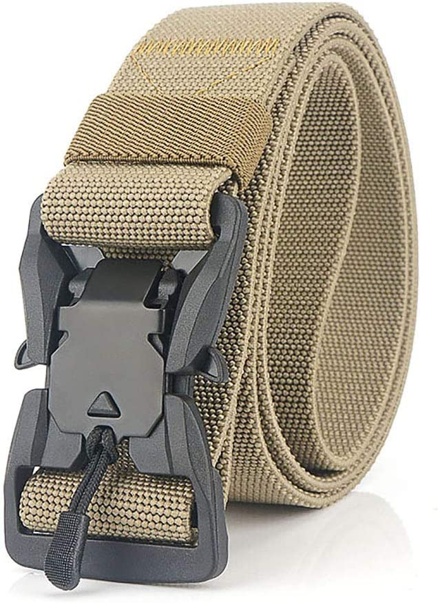 S.Lux Mens Magnetic Buckle Elastic Belts Hiking Etc Military Nylon Canvas Waist Belt with Quick Release Buckle Heavy-Duty Rigger Belt Optional For Hiking Camping