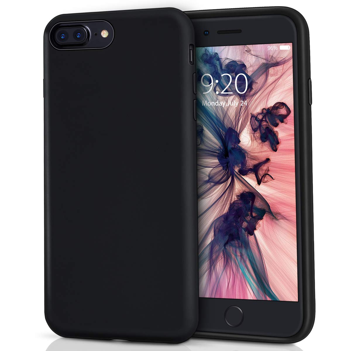 MILPROX Silicone Case, Pretty Series Liquid Silicone Gel Rubber, Shockproof Case with Microfiber Cloth Lining Cushion Compatible with iPhone 7 Plus/8 Plus - Black
