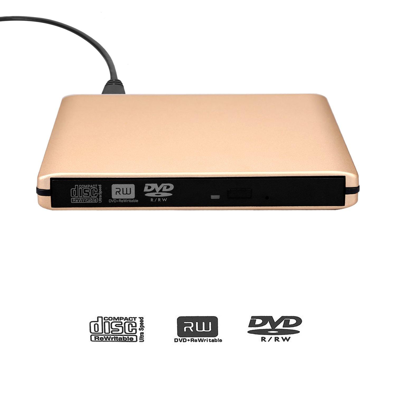 DVD Drive USB 3.0 External CD Drive,Emmako External DVD CD Player & CD DVD +/-RW Writer/Rewriter/Burner High Speed Data Transfer for MacBook/Laptops/Desktops/Notebooks Support Windows 10 (Golden) by Emmako (Image #2)