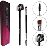 Metal Teeth Eyelash Comb and Duo End Angled Eyebrow Brush with Spoolie, Best To Define Mascara, Eye Brow Powder Makeup and Lash Extension