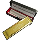 REZIPO Harmonica Standard 10 Hole 20 Tones Harmonica Key of C Blues for Beginners Students Children Kids with One Year Warranty, Gold