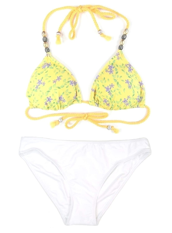 929d205502 Amazon.com: Women's 2-Piece Daisy Floral Caribbean Beaded Triangle Bikini  Top High-Leg Swim Bottom Beachwear Swimsuit Set Yellow Multi: Clothing