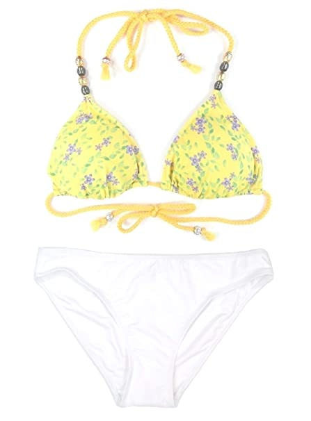 7c179f206a Women's 2-Piece Daisy Floral Caribbean Beaded High-Leg Bikini Beachwear  Bathing Swimsuit Set