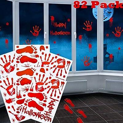 82 Piezas de Pegatinas Calcoman/ías de Clings de Ventana Suelo Pared de Huellas de Mano Huellas de Pies de Sangre para Halloween Fiesta de Vampiro Zombi