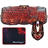 BlueFinger Three Color Adjustable Gaming Keyboard and Automatic Metamorphic Seven Color Backlit Mouse for Windows with Mouse Pad - Crack