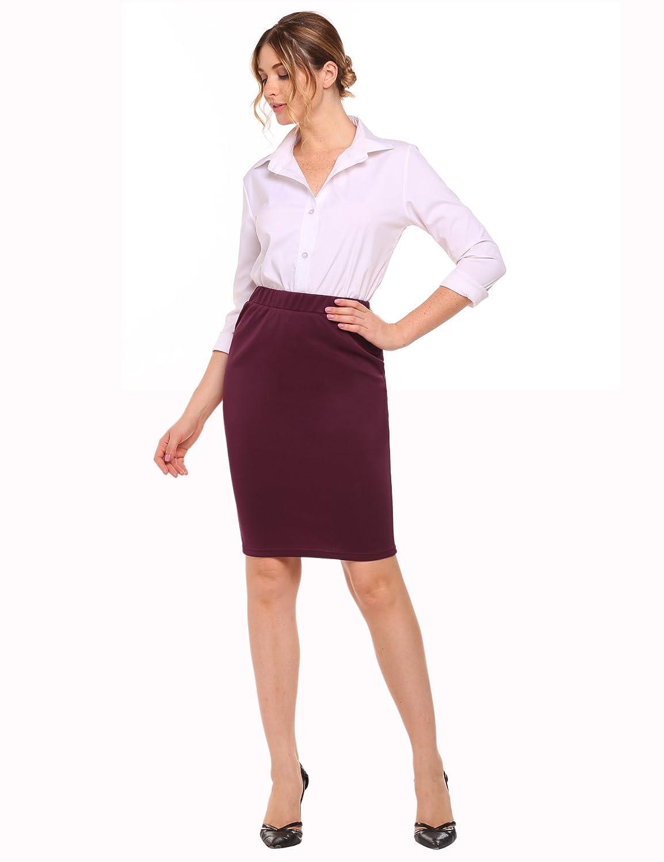 Women Basic Elastic Waistband Semi Formal Knee Midi Pencil Skirt for Office Wear