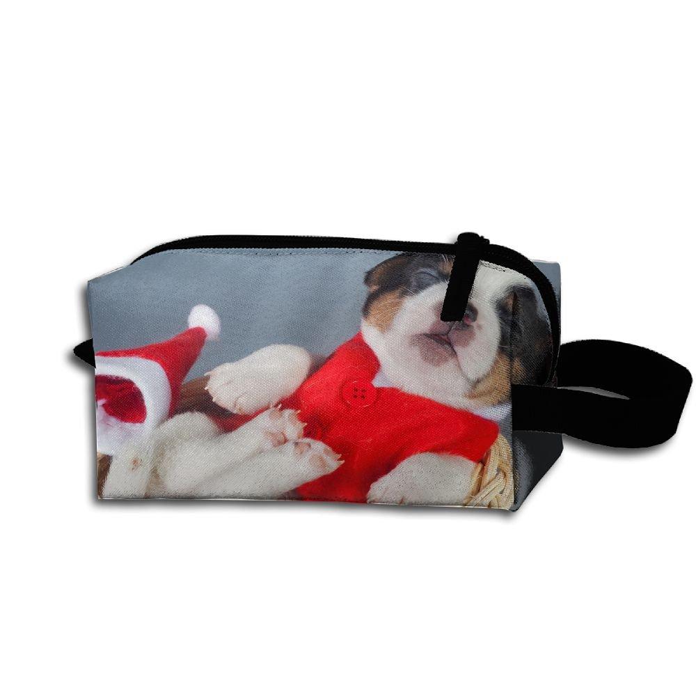 メイクアップコスメティックバッグ犬クリスマス新しい年Medicine Bag Zip旅行ポータブルストレージポーチforメンズレディース   B07FGG475S