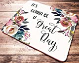 Quote Mouse Pad Inspirational Quotes Floral Teacher Mousepad Desk Accessories for Women Office Gifts