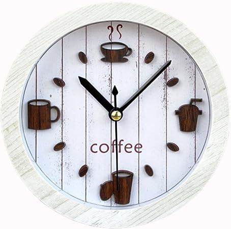 Reloj Despertador 3D Clásico Vintage Silencioso Cafetera Madera Pequeño Despertador Diseño De Madera Clara,White: Amazon.es: Hogar