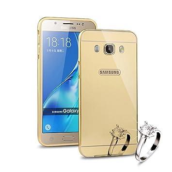 Sunroyal®para Samsung Galaxy J5 (2016)  J510 Funda Reflexión Brillante Lujo Espejo Carcasa Aluminio Carcasa Oro Metal Mirror Bumper Phone Case Hard ...