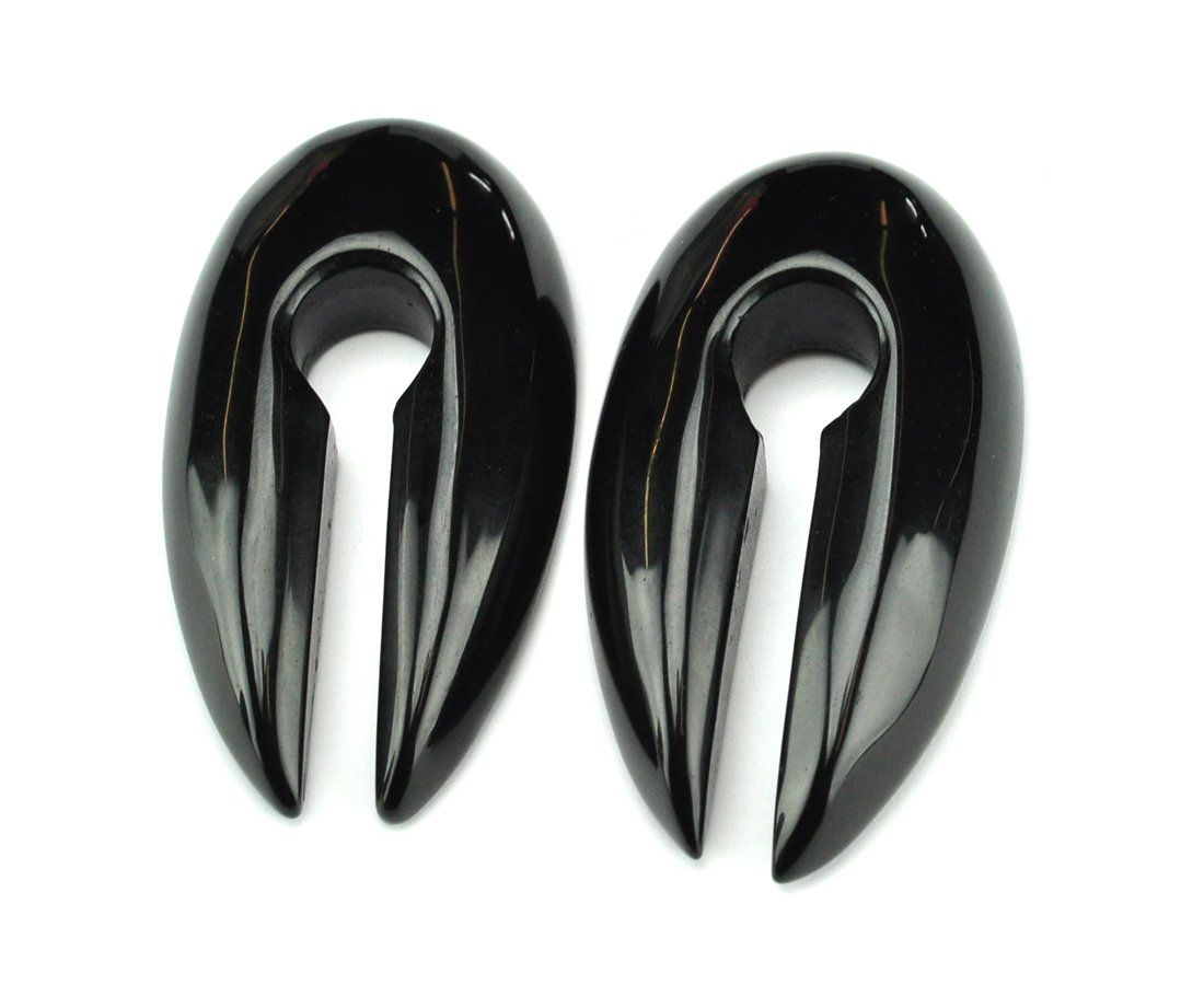 Pair of Large Keyhole Stone Ear Weights (5/8'' and up) - Sold as a Pair - Choose the Stone (Black Onyx)