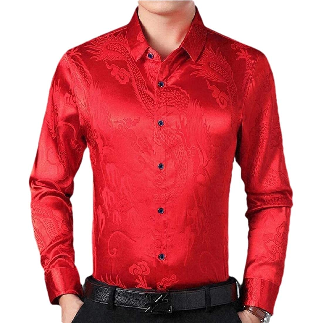 Beloved Mens Regular Fit Long Sleeve Shiny Satin Silk Blouses Dress Shirt Tops