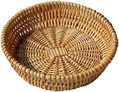 Rattan Woven Round Storage Basket,Handcrafted Desktop Fruit Bread Nuts Candies Storage Box Basket,Wedding Decoration