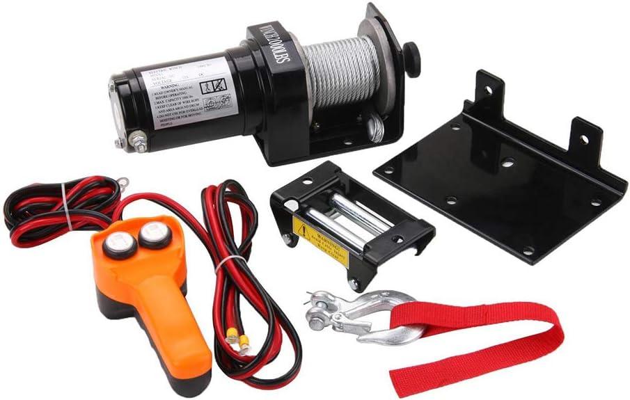 XINGXINGNS Cabestrantes eléctricos 12V/24V Cabrestante de recuperación de 1500lbs/680kg ATV eléctrico Kit, 7 M/32ft Cable de Acero Resistente, para el camión de Remolque Barco SUV