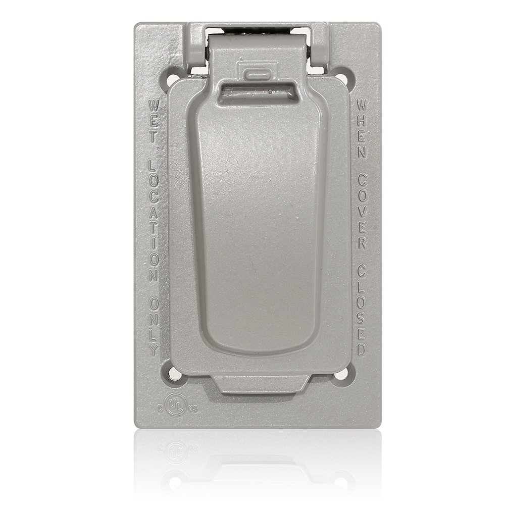 Leviton WM1VF-GY single Gang Weatherproof Device Cover For Decora / Gfci Receptacle, Vertical Mount, Includes Weatherproof Gasket & Mounting Screws, Graygray
