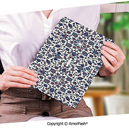 Printed Ultra Lightweight Protective Stand Cover for Samsung Galaxy Tab S2 9.7 Case,Arabesque,Moroccan Floral Pattern with Victorian Rococo Baroque Oriental Design Decorative,Cream Indigo Red Blue