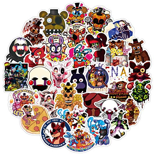 🥇 50Pcs Five Nights at Freddy's Waterproof Vinyl Stickers Decals for Laptop Water Bottles Bike Skateboard Luggage Computer Hydro Flask Toy Phone Snowboard. DIY Decoration as Gifts for Kids Girls Teens