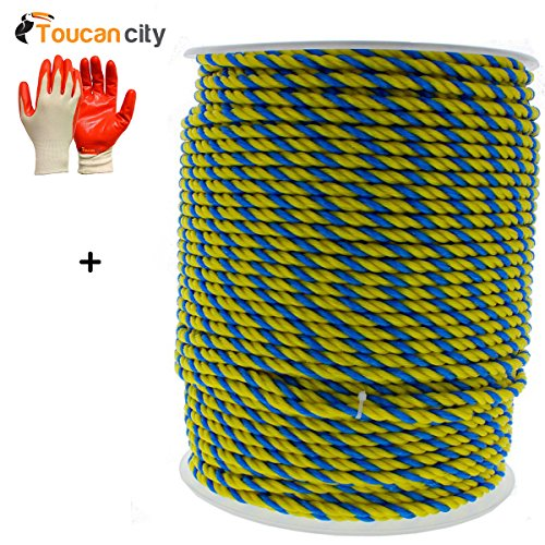 Toucan City Nitrile Dip Gloves (5-Pack) and Ideal 1/4 in. x 600 ft. Pro-Pull Polypropylene Rope 31-840 - Pro Pull Polypropylene Rope