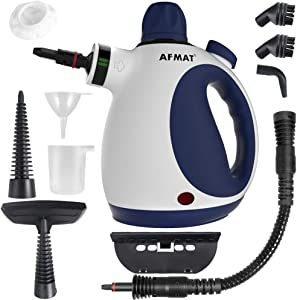 AFMAT Handheld Steam Cleaner, Portable Steam Cleaners for Home Use with 10 Multipurpose Accessories, Suitable for Upholstery, Furniture, Grout, Cars, Office, Kitchen, Bedroom Cleaning-Blue