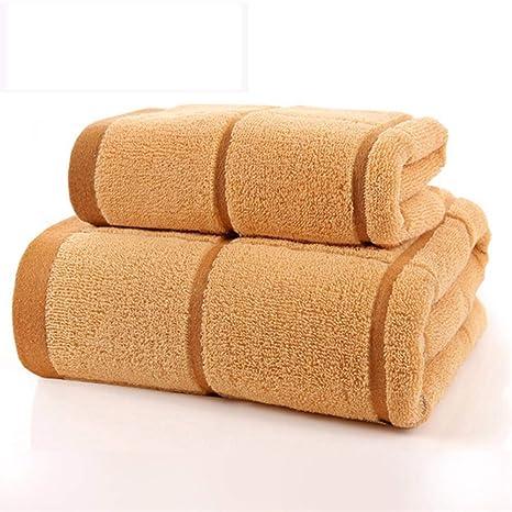 SYXLTSH Toalla de baño + Toalla algodón Adulto Pareja Absorbente Suave Conjunto Amarillo