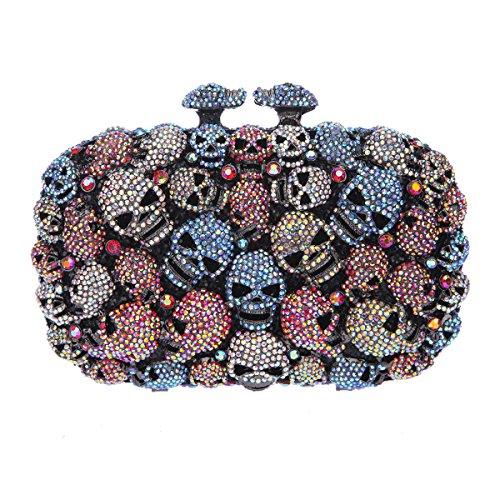 Evening Skull For Shape Kisslock Clutch Studded Blue Bonjanvye Bags Halloween Girls nUxR8w6W