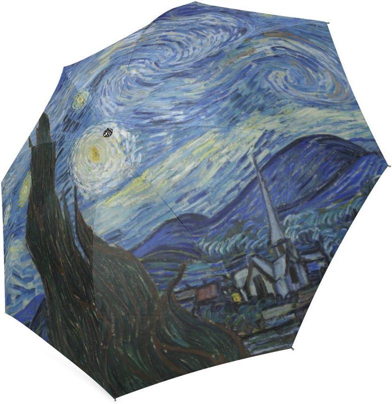 Fashionable Vincent Van Gogh Starry Night Compact Travel Windproof Rainproof Umbrella