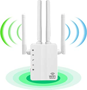 WiFi Range Extender 1200Mbps Booster for The Hourse, 2500FT Repeater 2.4 & 5GHz Dual Band WPS Superbooster WPS Easy Setup, Work with Any WiFi Routers Perfect Extension of Life.