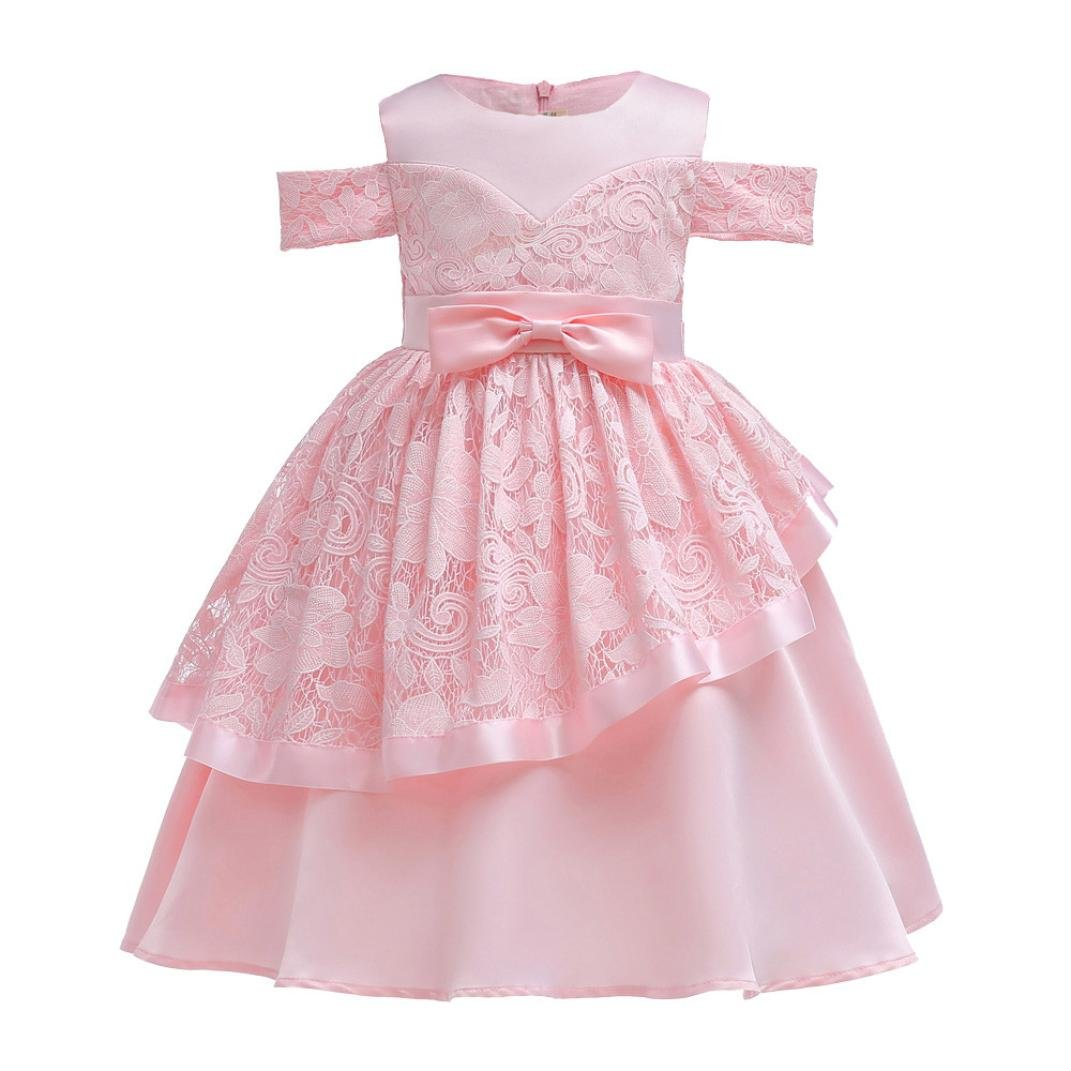4196ca398d4e Amazon.com: Moonker Girls Princess Dress 2-7 Years Old, Kid Baby Girl  Clothes Lace Bowknot Sleeveless Birthday Wedding Dress Ball Gown: Clothing