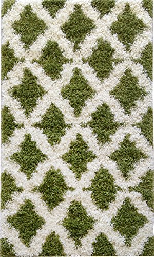 Adgo Chester Shaggy Collection Moroccan Mediterranean Trellis Lattice Design Vivid Color High Pile Carpet Thick Plush Fluffy Kids Bedroom Living Dining Room Shag Floor Rug, Olive Green Ivory, 5′ x 7′