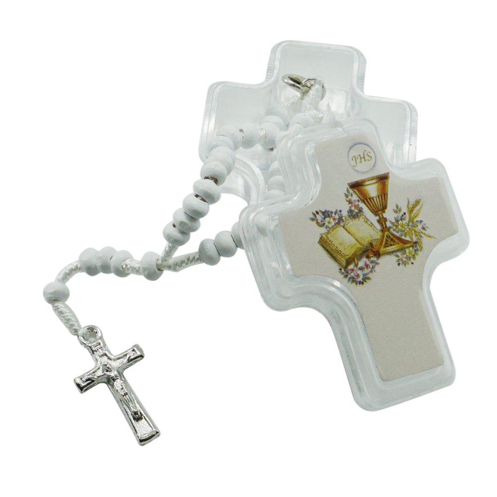 12 Pcs First Holy Communion Wood Rosaries in Glass Jar/Recuerdos Para Primera Comunion Niña Niño
