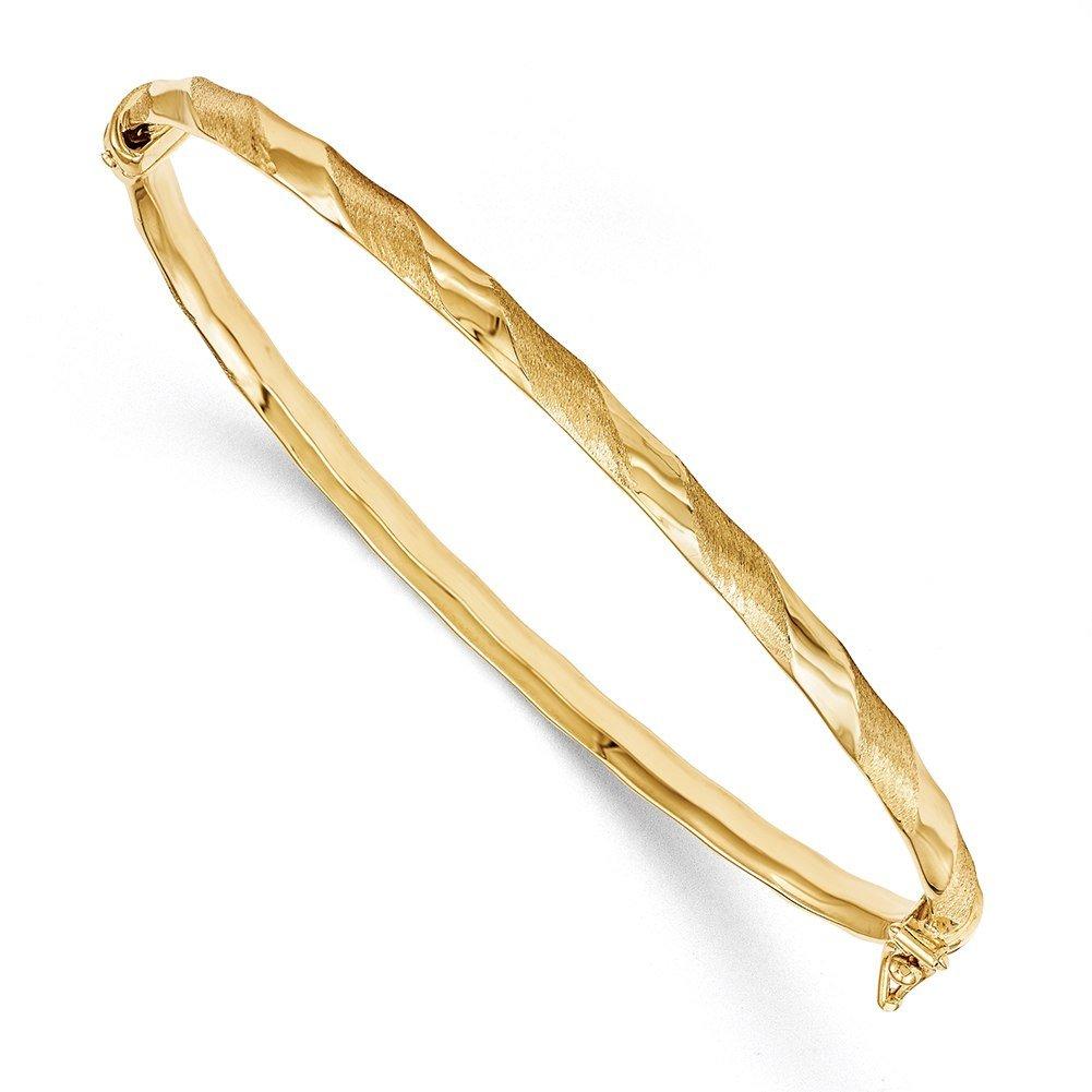 Lex & Lu 14k Yellow Gold Brushed/Polished Hinged Bangle Bracelet-Prime