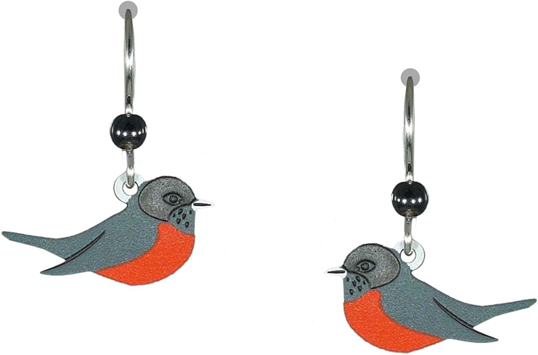 Sienna Sky American ROBIN Earrings STERLING Silver Red BIRD Dangle Gift Box