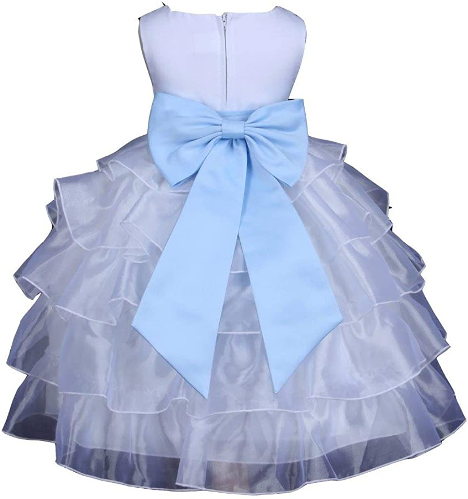 Prince Lover White Girls Wedding Tiered Organza Flower Dress with Bow