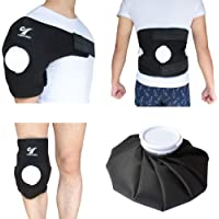 """Creatrill Reusable Hot Cold Therapy Ice bag Pack (9"""") Neoprene Core Wrap with Elastic Strap, Portable Moist Heating Brace First aid Ice Compression Sleeves Pain Relief Pad"""
