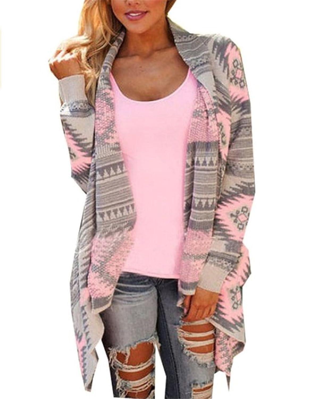 YOGLY Damen Strickjacke Cardigan Langarmshirt Geometrische Irregular Lose Pullover Mantel Outwear Tops Strickmantel Strick Loose Strickjacke Kimono