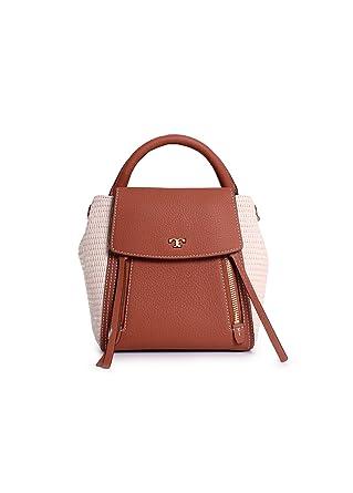 cba7d8c5b677 Amazon.com  Tory Burch Half Moon Straw Leather Crossbody Handbag in Natural  Classic Tan  Clothing