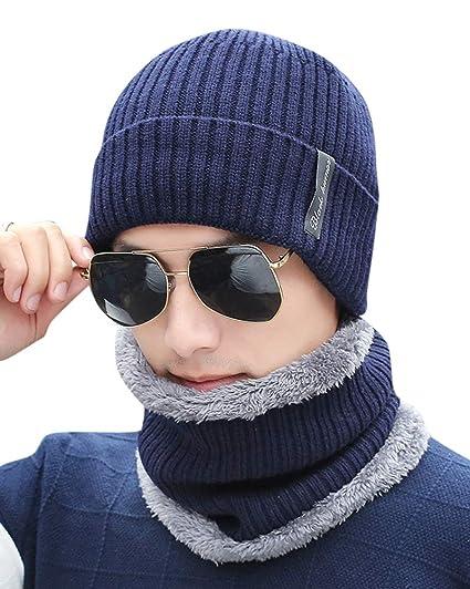 ZiXing Hombre Winter Thick Beanie Hat Bufanda Conjunto Slouchy Gorros de  Invierno Armada  Amazon.es  Ropa y accesorios eda769bd2fd