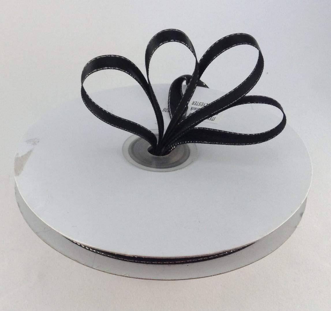 3/8 Black with Silver Edge Satin Ribbon 50 Yards Spool Single Faced Polyester by KCraftDepot   B00FGJN6UQ