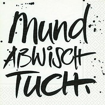 20 Servietten Mundabwischtuch Sprüche Geburtstag Taufe 33x33cm