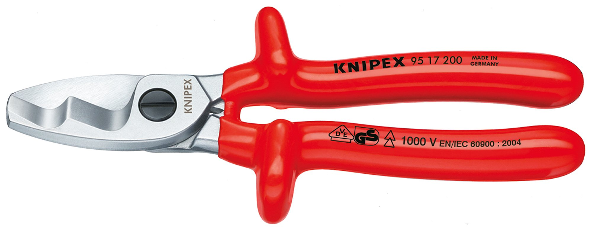 Knipex 95 17 200 Cable Shears 7,87'' with twin cutting edge by KNIPEX Tools