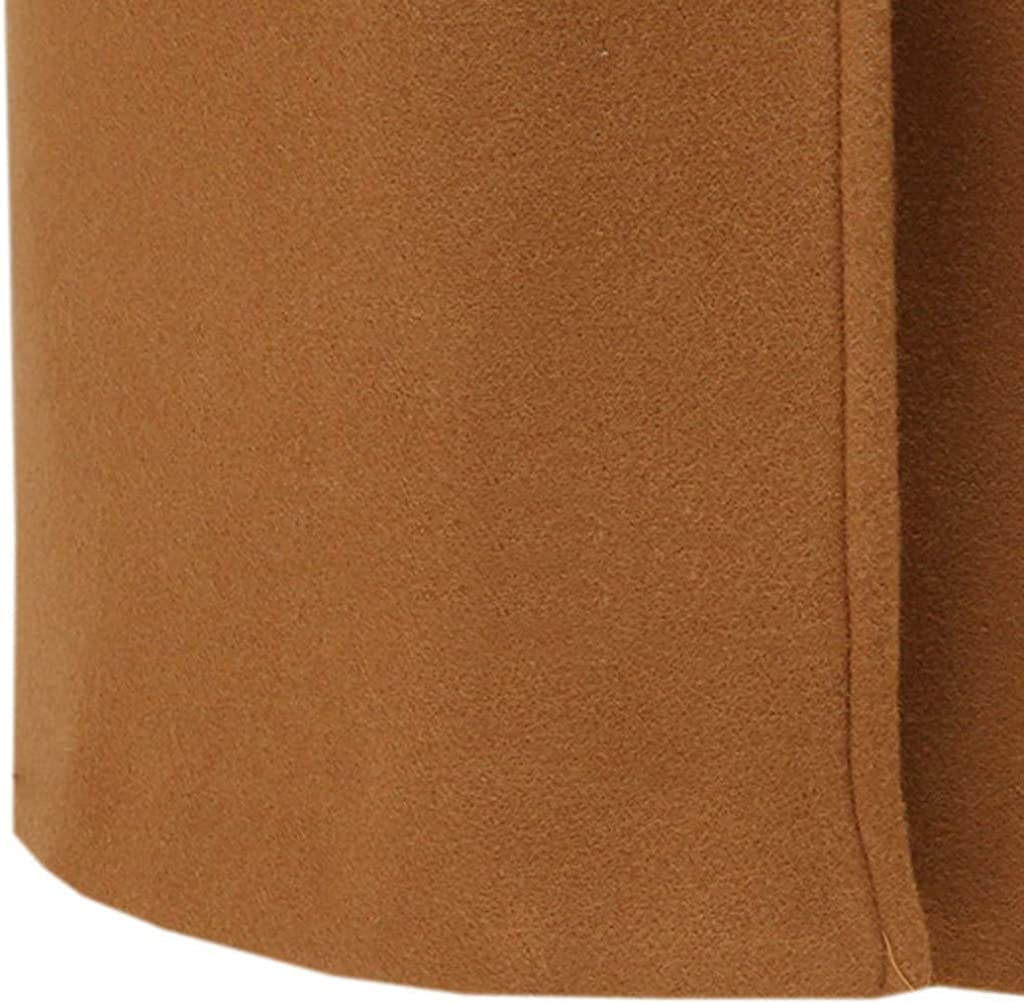 AKIMPE Womens Camel Coat Lapel Long Hem Causal Jacket Classic Slim Outdoor Elegant Utility Outwear with Pocket