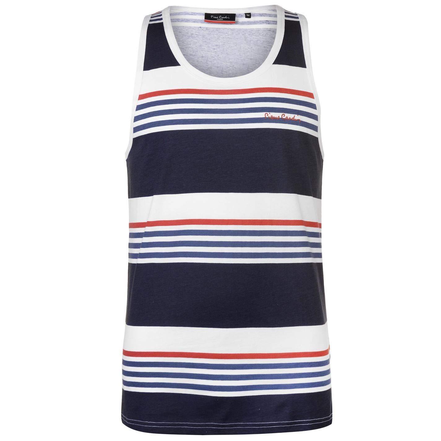 Pierre Cardin Printed Stripe Vest Mens Singlet Tops Tank Navy//White//Blue Small