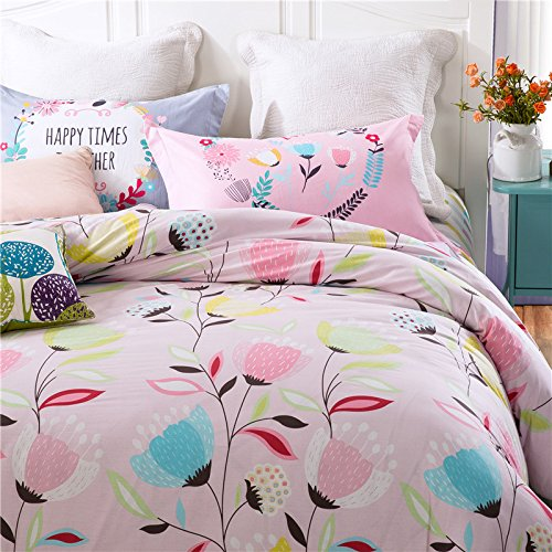 TheFit Paisley Textile Bedding for Adult U869 Pastel Art Flower Duvet Cover Set 100% Cotton, Queen Set, 4 Pieces