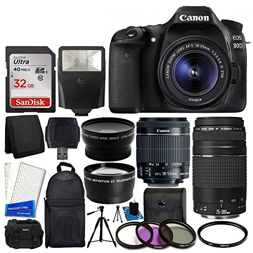 Canon EOS 80D DSLR Camera Body + Canon EF-S 18-55mm is STM & Canon EF 75-300mm III + 58mm 2X Lens + Wide Angle Lens + 32GB Memory Card + Slave Flash + UV Filter Kit + Accessory Backpack + DC59 Case
