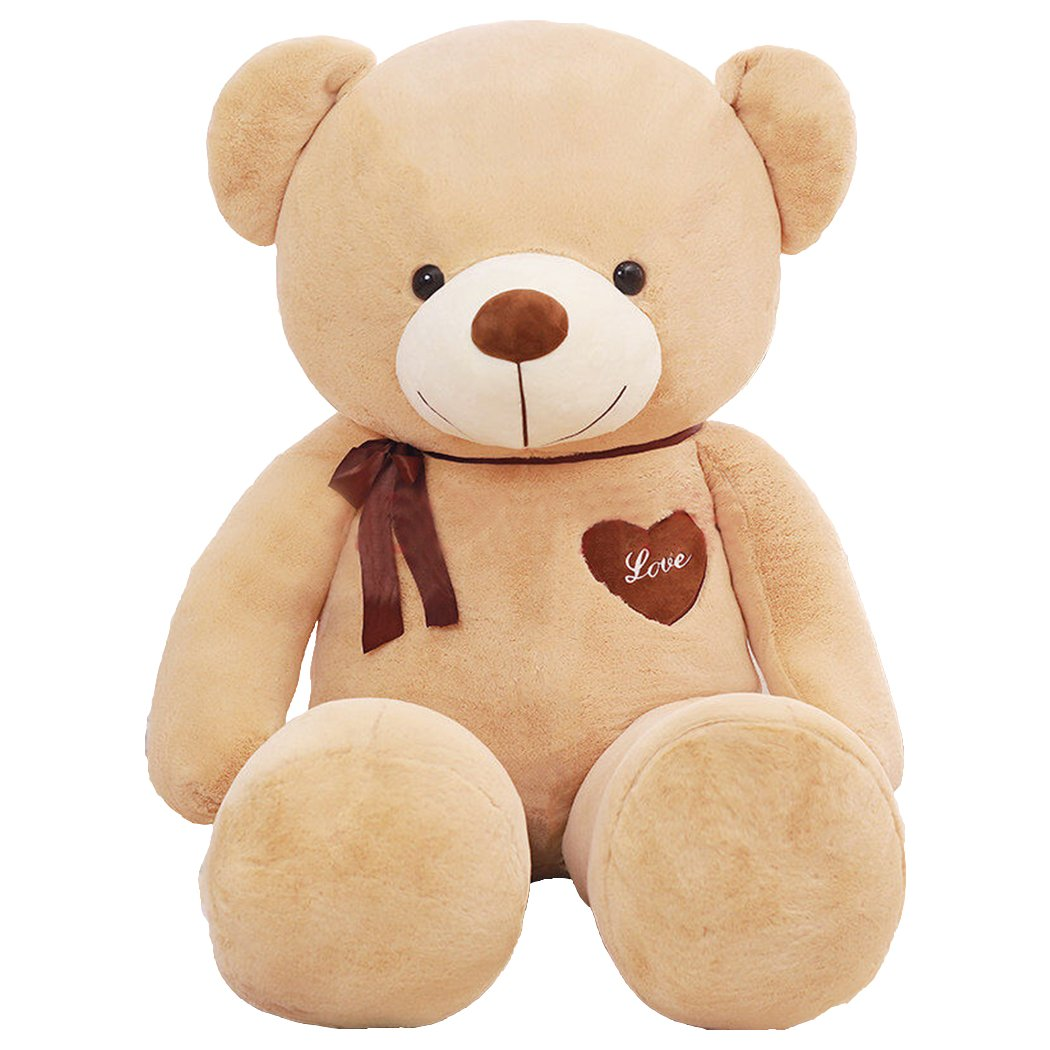 Verart Light Brown 55 Inches Cute Cuddly Huge Stuffed Animals Plush Gaint I Love You Teddy Bear Toy Doll for Valentine's Day by General