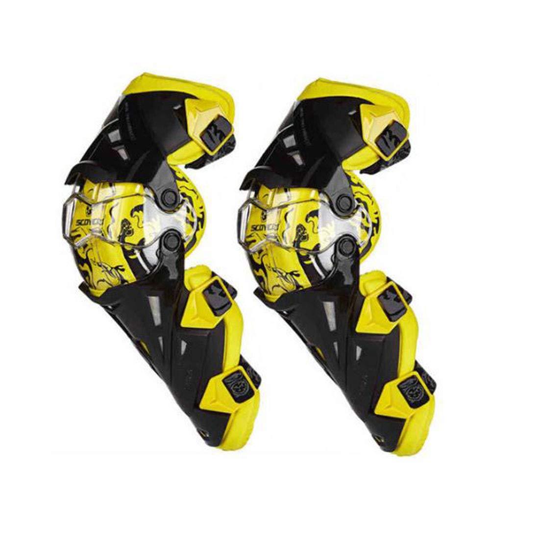 Aeshesn 快適な膝パッド調節可能な長い脚スリーブギアクラッシュ防止滑り止め保護新ガード衝突回避膝スリーブオートバイマウンテンバイク (Color : イエロー) イエロー B07QCZ5XJS