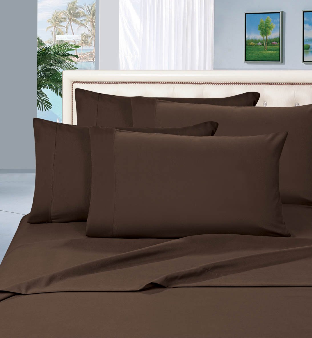 Elegant Comfort 2 Piece Luxurious Silky-Soft Pillowcases, Standard, Brown 110RW-PCASE-Q Brown